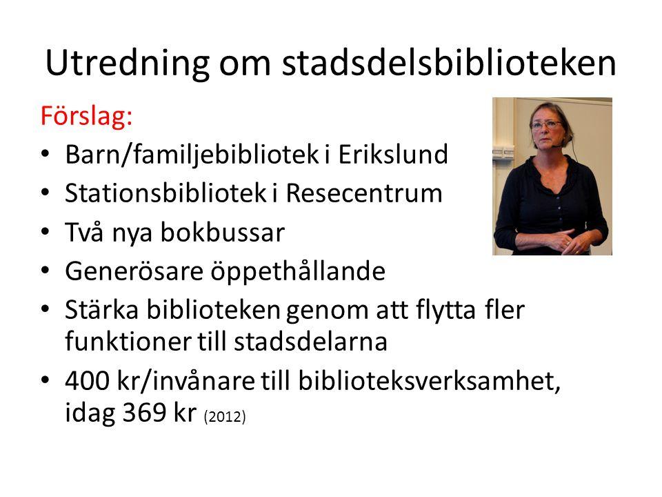 Utredning om stadsdelsbiblioteken Förslag: Barn/familjebibliotek i Erikslund Stationsbibliotek i Resecentrum Två nya bokbussar Generösare öppethållande Stärka biblioteken genom att flytta fler funktioner till stadsdelarna 400 kr/invånare till biblioteksverksamhet, idag 369 kr (2012)