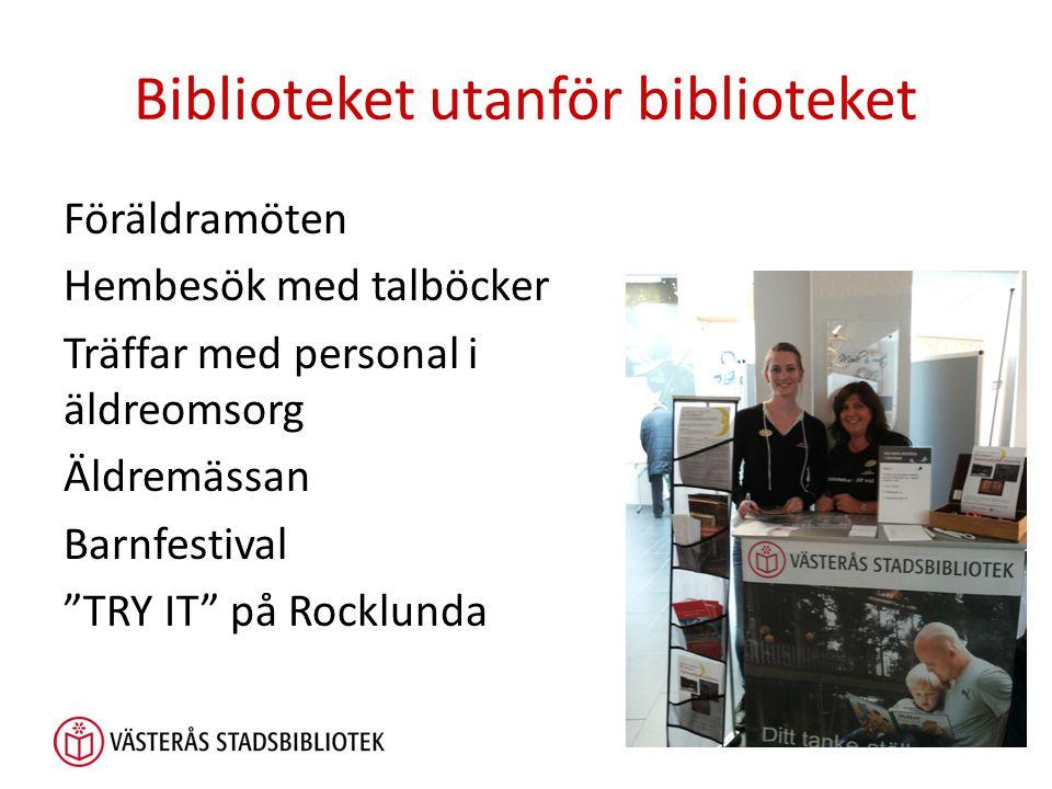 Biblioteket utanför biblioteket Föräldramöten Hembesök med talböcker Träffar med personal i äldreomsorg Äldremässan Barnfestival TRY IT på Rocklunda