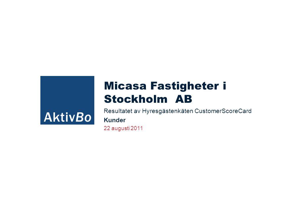 Svarssammanställning 2011 AktivBo på uppdrag av Micasa Fastigheter i Stockholm AB  2011-06-08 Antal ut: 330 st Antal svar: 91 st (Fel adress: 50 st)