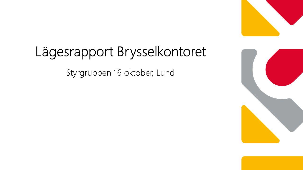 Styrgruppen 16 oktober, Lund Lägesrapport Brysselkontoret