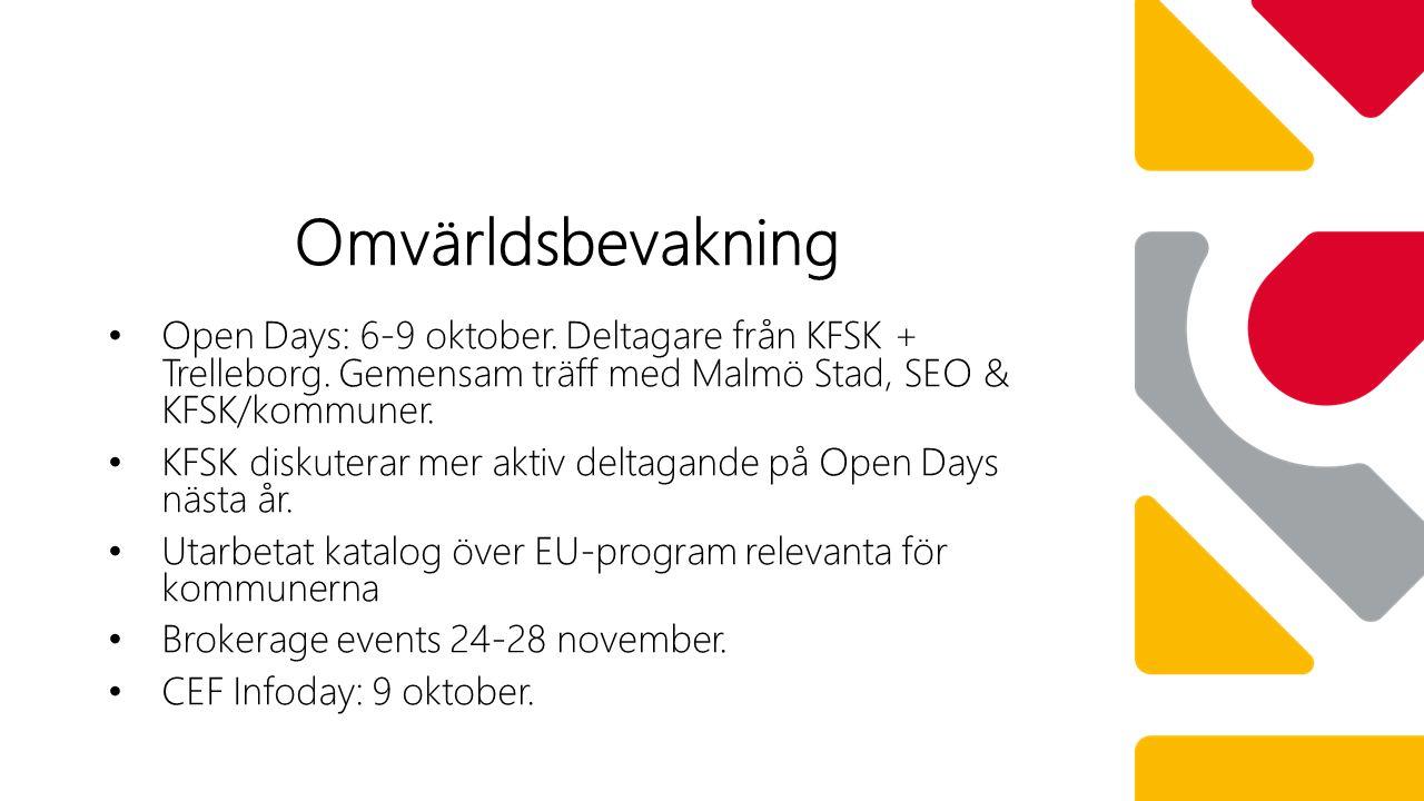 Open Days: 6-9 oktober. Deltagare från KFSK + Trelleborg.