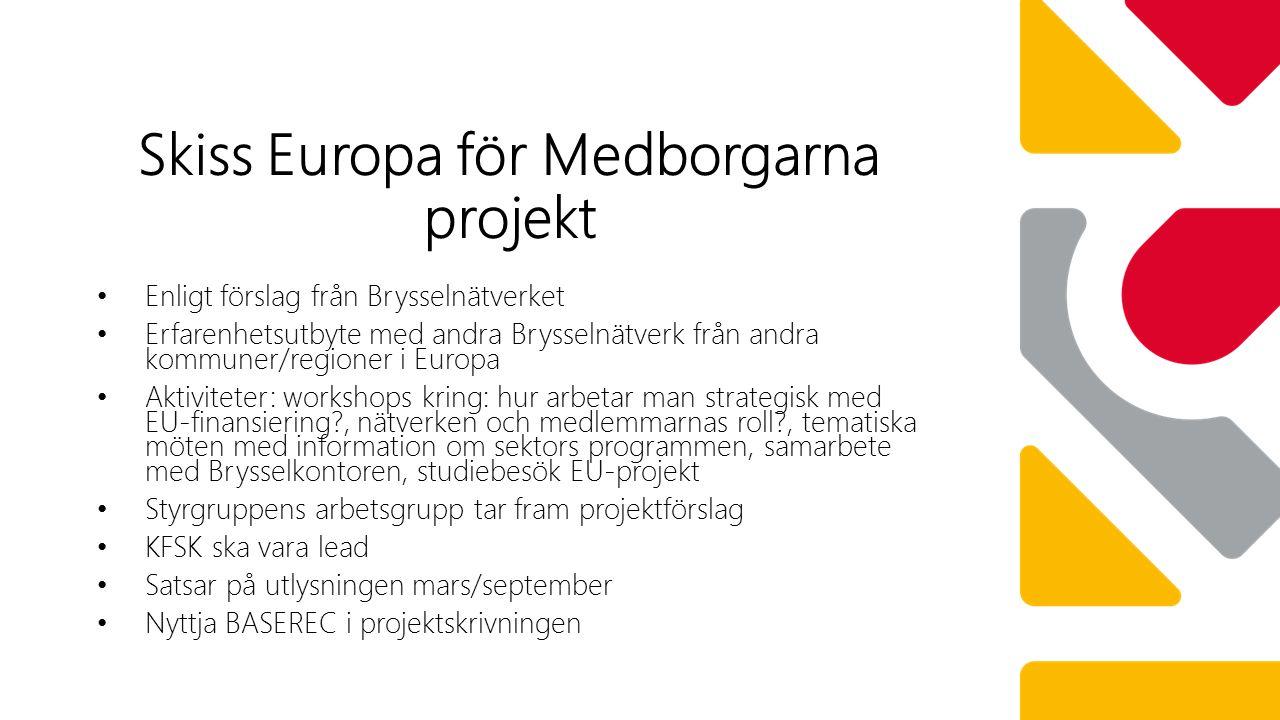 Enligt förslag från Brysselnätverket Erfarenhetsutbyte med andra Brysselnätverk från andra kommuner/regioner i Europa Aktiviteter: workshops kring: hur arbetar man strategisk med EU-finansiering , nätverken och medlemmarnas roll , tematiska möten med information om sektors programmen, samarbete med Brysselkontoren, studiebesök EU-projekt Styrgruppens arbetsgrupp tar fram projektförslag KFSK ska vara lead Satsar på utlysningen mars/september Nyttja BASEREC i projektskrivningen Skiss Europa för Medborgarna projekt