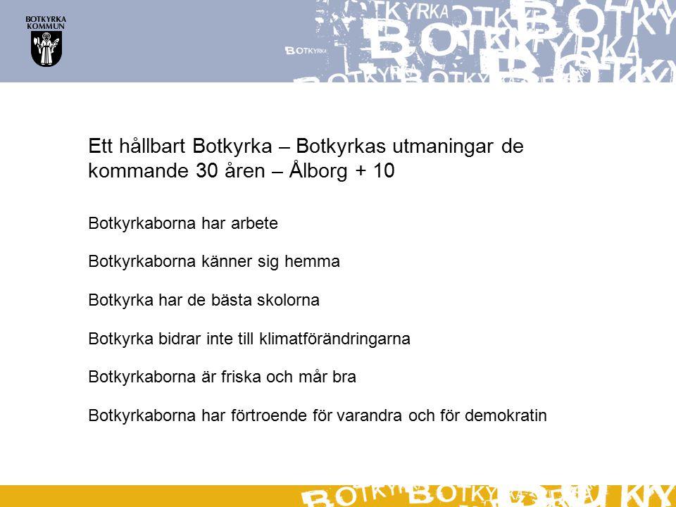 Ett hållbart Botkyrka – Botkyrkas utmaningar de kommande 30 åren – Ålborg + 10 Botkyrkaborna har arbete Botkyrkaborna känner sig hemma Botkyrka har de bästa skolorna Botkyrka bidrar inte till klimatförändringarna Botkyrkaborna är friska och mår bra Botkyrkaborna har förtroende för varandra och för demokratin