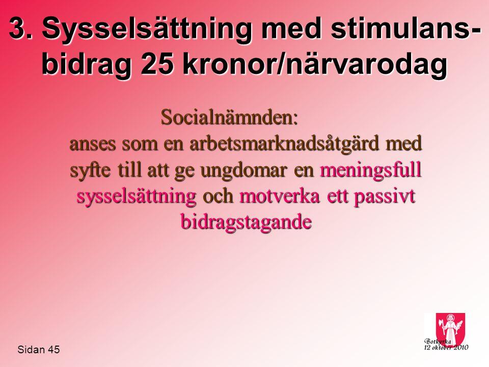 3. Sysselsättning med stimulans- bidrag 25 kronor/närvarodag Socialnämnden: anses som en arbetsmarknadsåtgärd med syfte till att ge ungdomar en mening