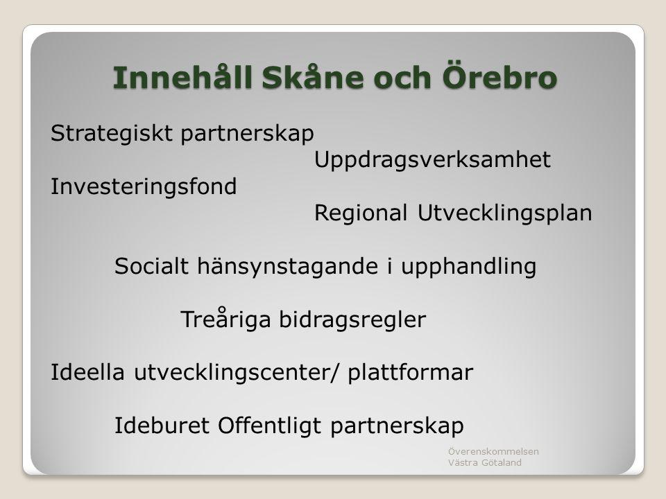 Innehåll Skåne och Örebro Strategiskt partnerskap Uppdragsverksamhet Investeringsfond Regional Utvecklingsplan Socialt hänsynstagande i upphandling Treåriga bidragsregler Ideella utvecklingscenter/ plattformar Ideburet Offentligt partnerskap Överenskommelsen Västra Götaland