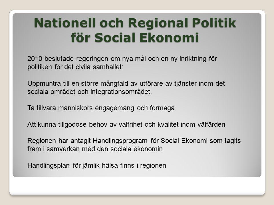 Nationell och Regional Politik för Social Ekonomi 2010 beslutade regeringen om nya mål och en ny inriktning för politiken för det civila samhället: Uppmuntra till en större mångfald av utförare av tjänster inom det sociala området och integrationsområdet.