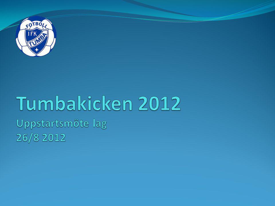 Målsättning och syfte Ge en gemensam målbild av föreningens stora årliga arrangemang Tumbakicken 2012.