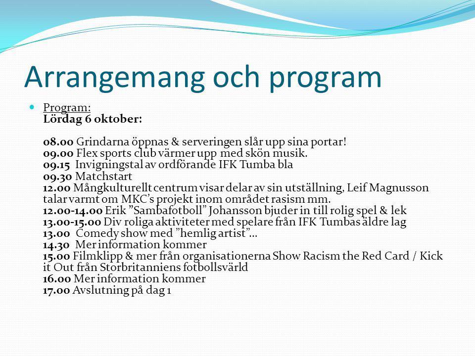 Arrangemang och program Program: Söndag 7 oktober: 08.00 Grindarna öppnas & serveringen slår upp sina portar.