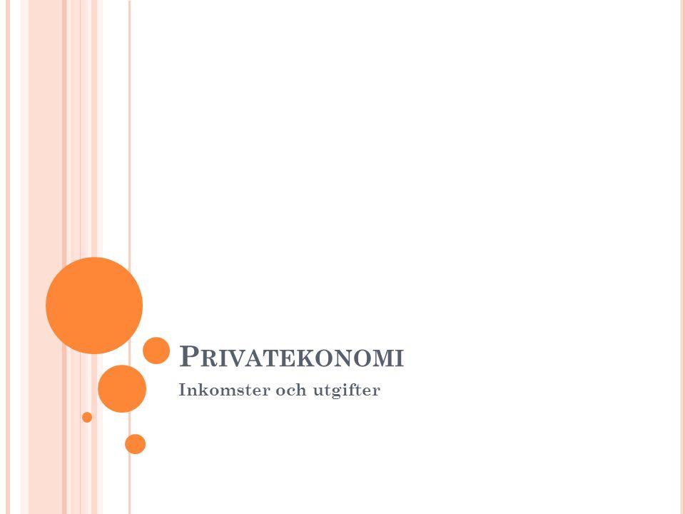 P RIVATEKONOMI Inkomster och utgifter