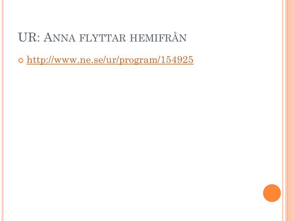 UR: A NNA FLYTTAR HEMIFRÅN http://www.ne.se/ur/program/154925