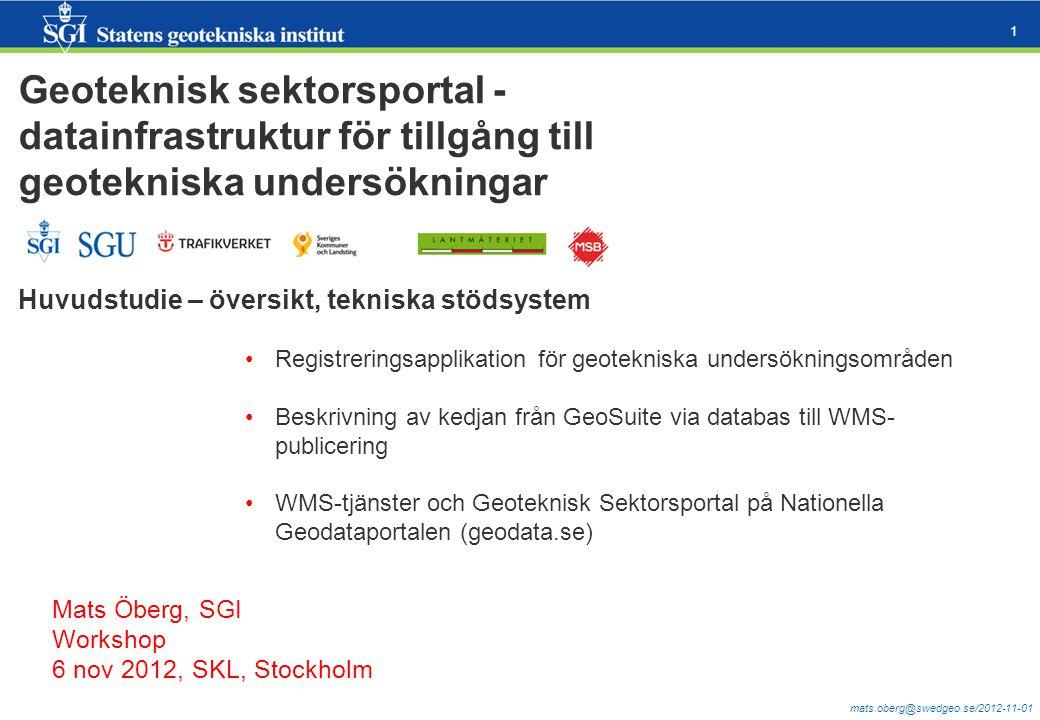 mats.oberg@swedgeo.se/2012-11-01 1 Geoteknisk sektorsportal - datainfrastruktur för tillgång till geotekniska undersökningar Huvudstudie – översikt, t