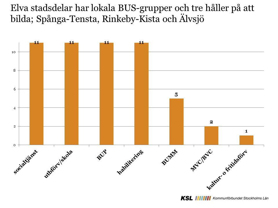 Elva stadsdelar har lokala BUS-grupper och tre håller på att bilda; Spånga-Tensta, Rinkeby-Kista och Älvsjö