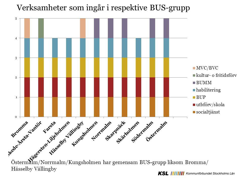 Verksamheter som ingår i respektive BUS-grupp Östermalm/Norrmalm/Kungsholmen har gemensam BUS-grupp liksom Bromma/ Hässelby Vällingby