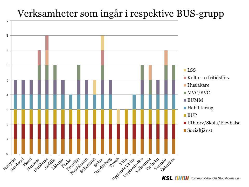 Verksamheter som ingår i respektive BUS-grupp