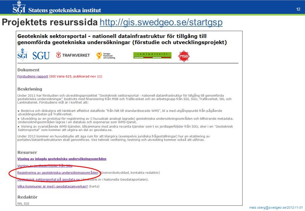mats.oberg@swedgeo.se/2012-11-01 12 Projektets resurssida http://gis.swedgeo.se/startgsphttp://gis.swedgeo.se/startgsp