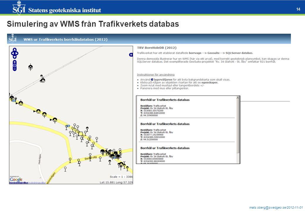 mats.oberg@swedgeo.se/2012-11-01 14 Simulering av WMS från Trafikverkets databas