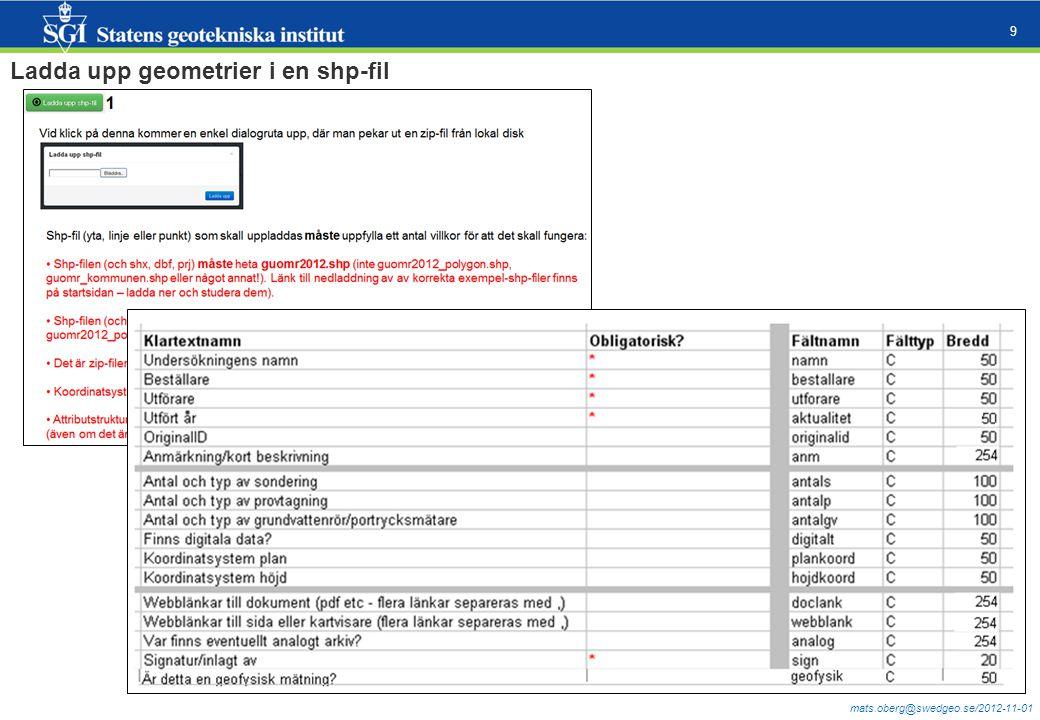 mats.oberg@swedgeo.se/2012-11-01 9 Ladda upp geometrier i en shp-fil