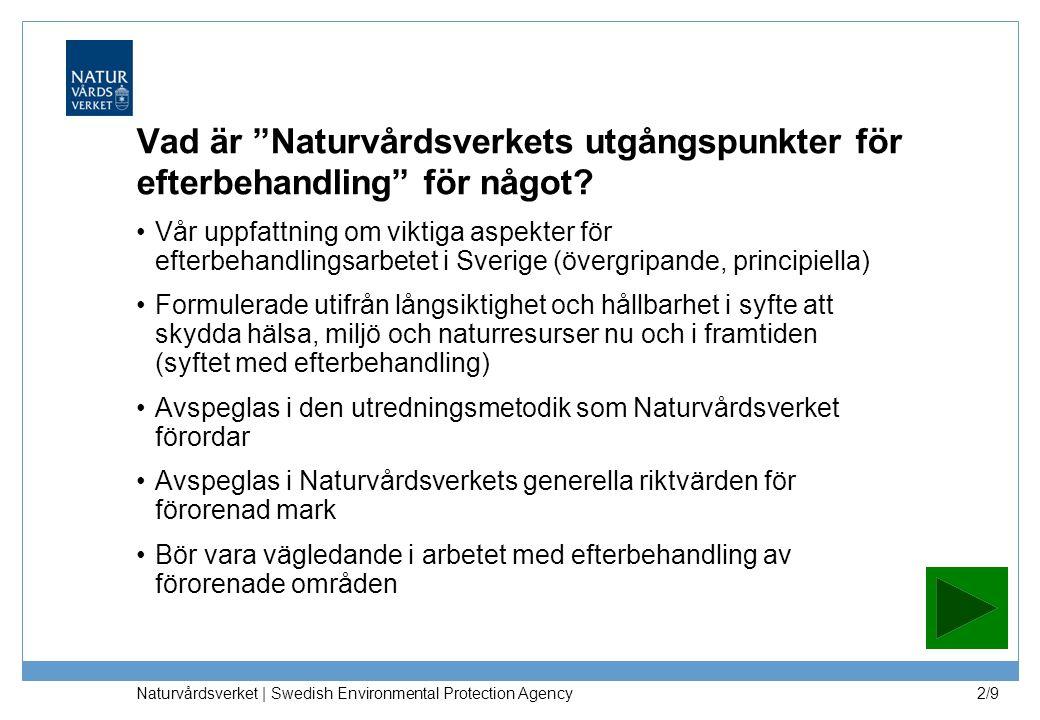 Naturvårdsverket | Swedish Environmental Protection Agency 2/9 Vad är Naturvårdsverkets utgångspunkter för efterbehandling för något.