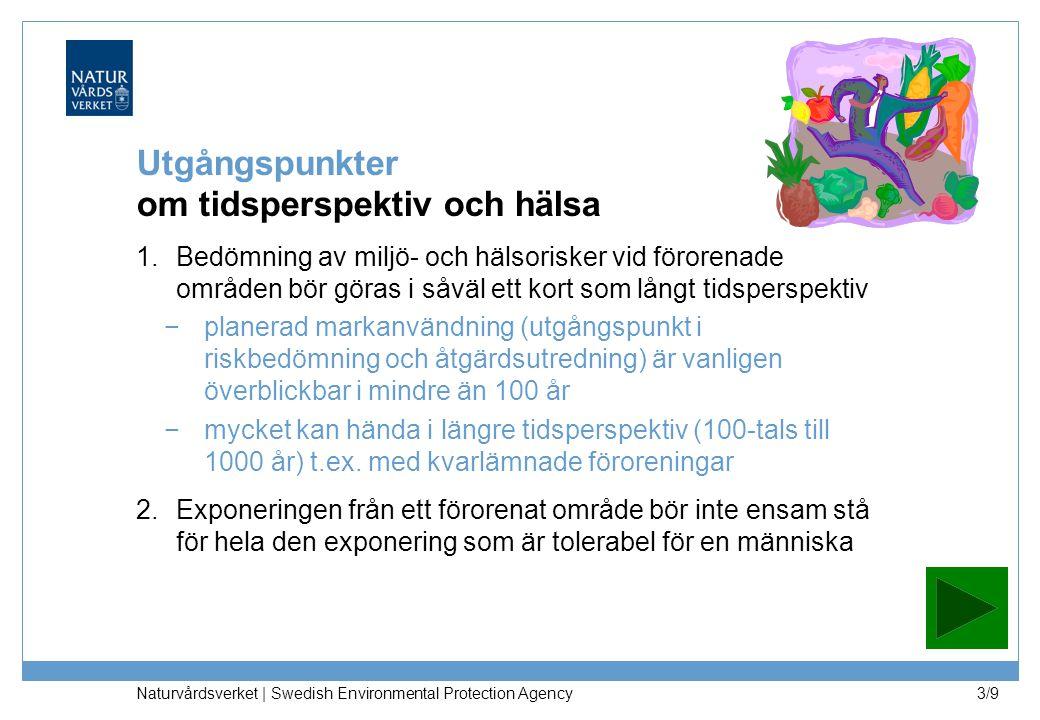 Naturvårdsverket | Swedish Environmental Protection Agency 3/9 Utgångspunkter om tidsperspektiv och hälsa 1.Bedömning av miljö- och hälsorisker vid förorenade områden bör göras i såväl ett kort som långt tidsperspektiv −planerad markanvändning (utgångspunkt i riskbedömning och åtgärdsutredning) är vanligen överblickbar i mindre än 100 år −mycket kan hända i längre tidsperspektiv (100-tals till 1000 år) t.ex.