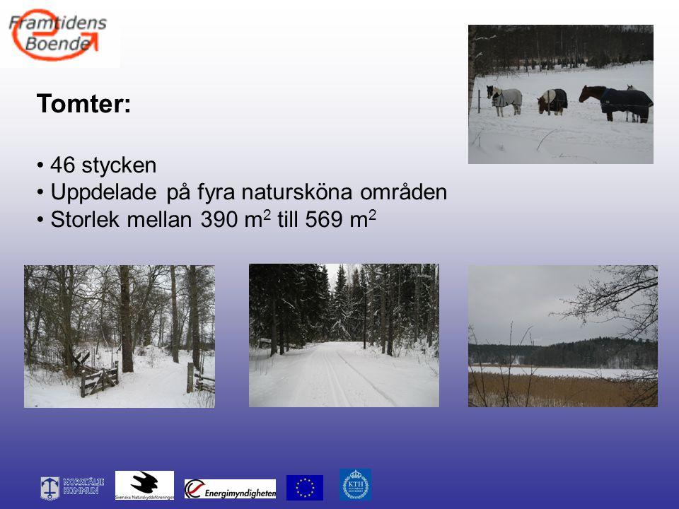 Tomter: 46 stycken Uppdelade på fyra natursköna områden Storlek mellan 390 m 2 till 569 m 2