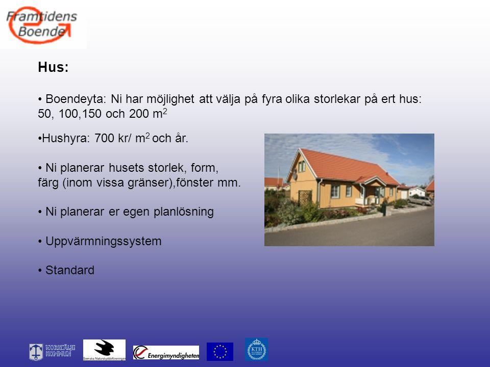 Hus: Boendeyta: Ni har möjlighet att välja på fyra olika storlekar på ert hus: 50, 100,150 och 200 m 2 Hushyra: 700 kr/ m 2 och år. Ni planerar husets
