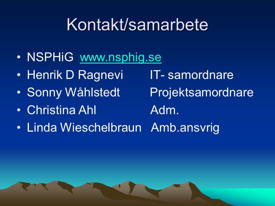 Kontakt/samarbete NSPHiG www.nsphig.sewww.nsphig.se Henrik D Ragnevi IT- samordnare Sonny Wåhlstedt Projektsamordnare Christina Ahl Adm.