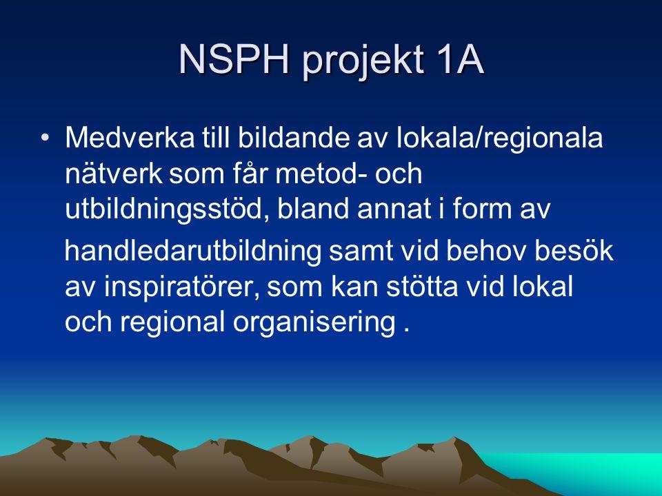 NSPH projekt 1A Medverka till bildande av lokala/regionala nätverk som får metod- och utbildningsstöd, bland annat i form av handledarutbildning samt vid behov besök av inspiratörer, som kan stötta vid lokal och regional organisering.