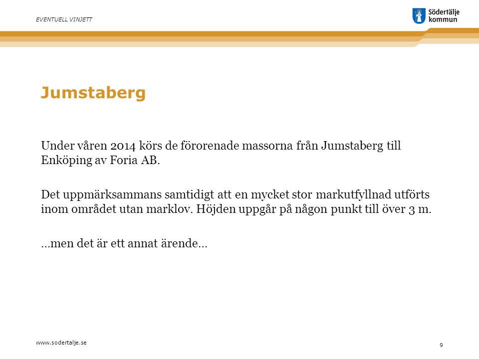 www.sodertalje.se 9 EVENTUELL VINJETT Jumstaberg Under våren 2014 körs de förorenade massorna från Jumstaberg till Enköping av Foria AB.
