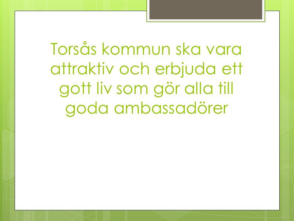 Torsås kommun ska vara attraktiv och erbjuda ett gott liv som gör alla till goda ambassadörer