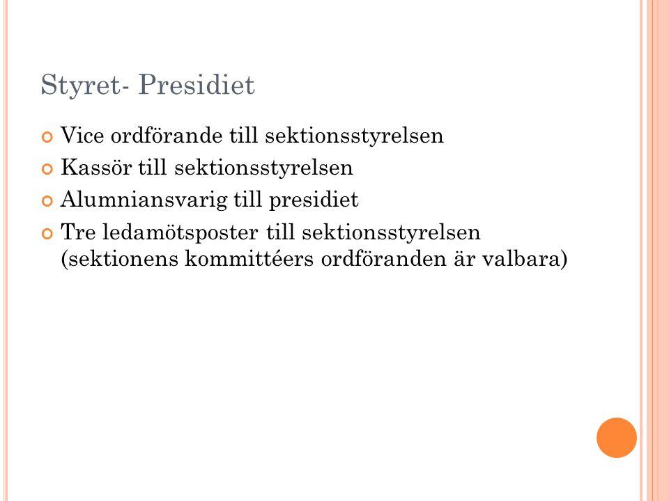 Styret- Presidiet Vice ordförande till sektionsstyrelsen Kassör till sektionsstyrelsen Alumniansvarig till presidiet Tre ledamötsposter till sektionsstyrelsen (sektionens kommittéers ordföranden är valbara)