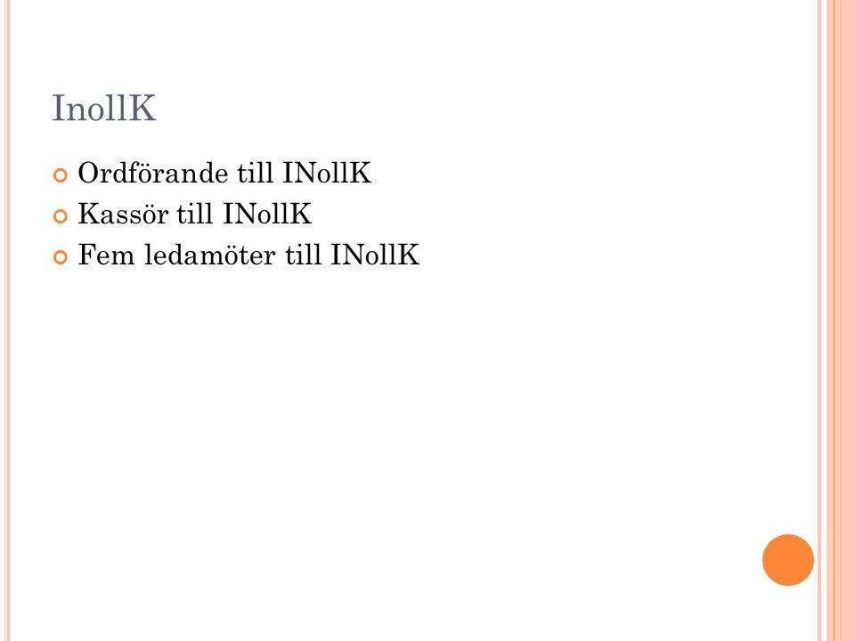 InollK Ordförande till INollK Kassör till INollK Fem ledamöter till INollK