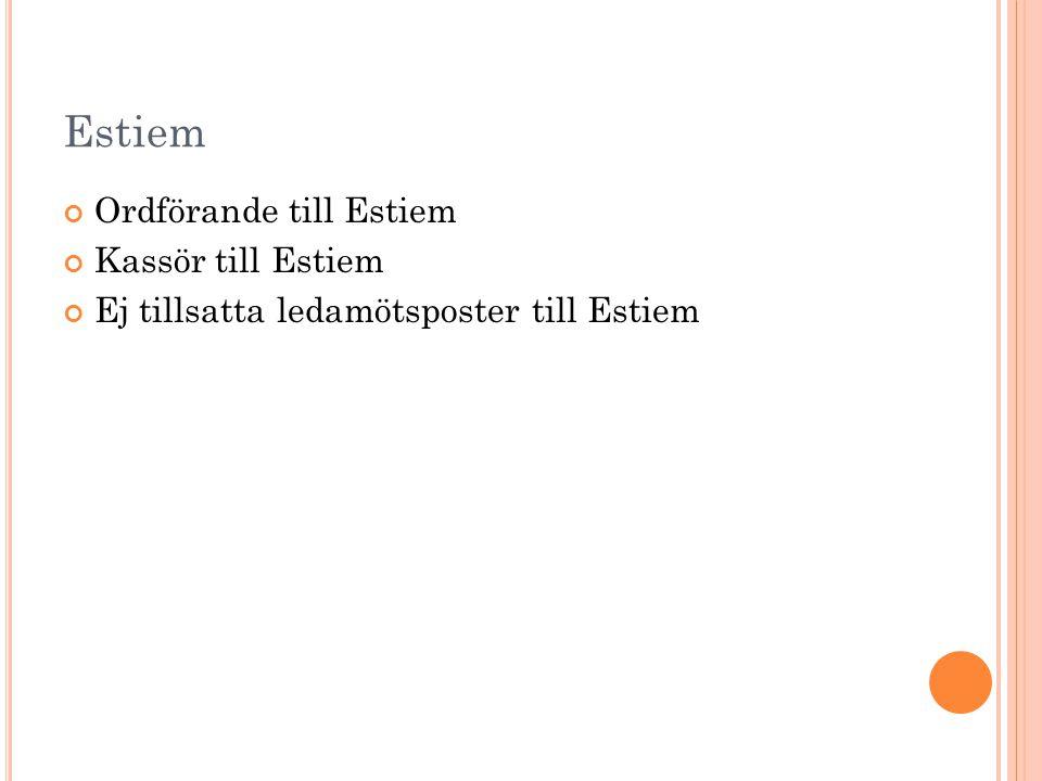 Estiem Ordförande till Estiem Kassör till Estiem Ej tillsatta ledamötsposter till Estiem