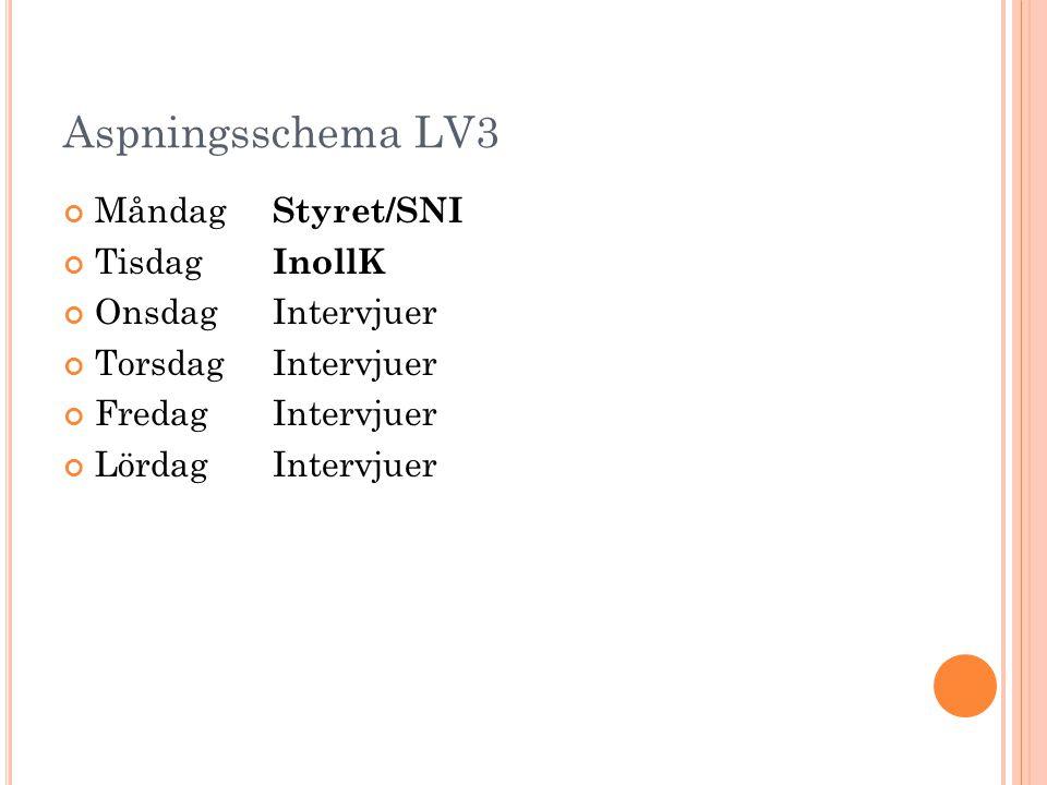 Aspningsschema LV3 Måndag Styret/SNI Tisdag InollK OnsdagIntervjuer TorsdagIntervjuer FredagIntervjuer LördagIntervjuer