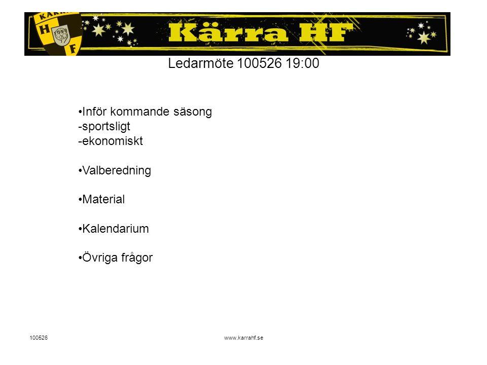 100526www.karrahf.se Ledarmöte 100526 19:00 Inför kommande säsong -sportsligt -ekonomiskt Valberedning Material Kalendarium Övriga frågor