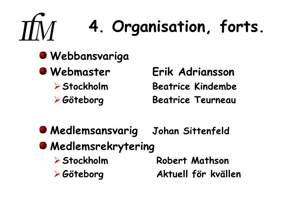 4. Organisation, forts.