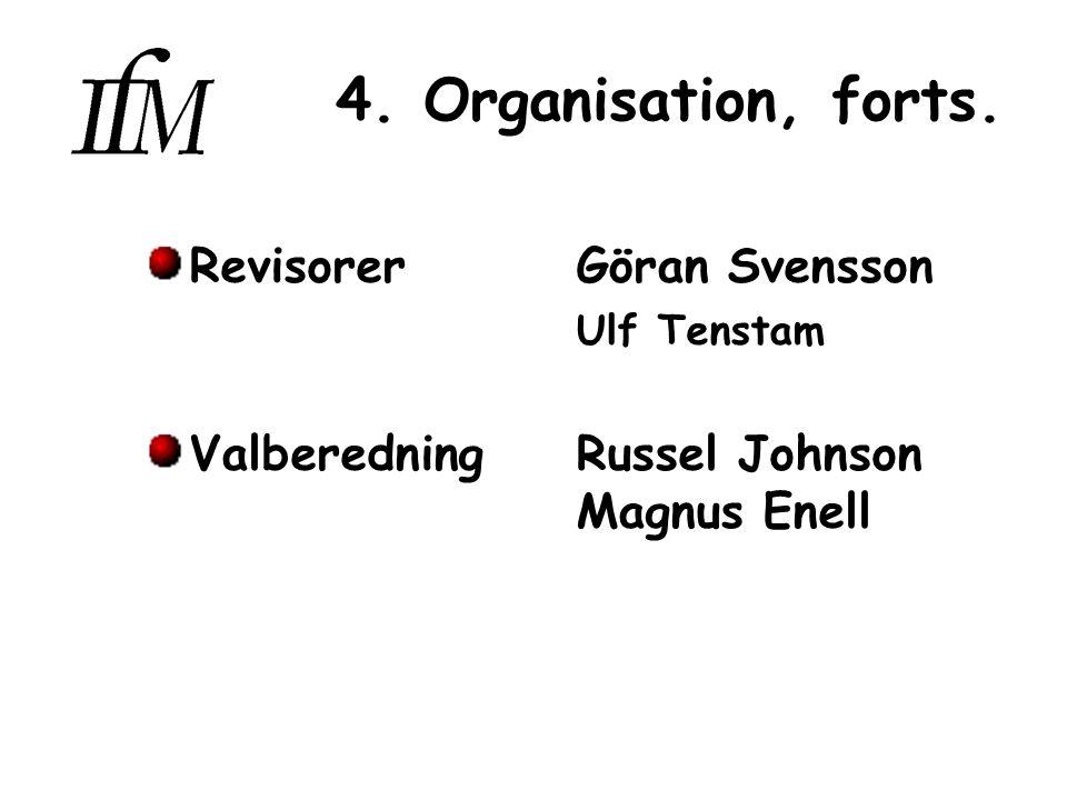4. Organisation, forts. RevisorerGöran Svensson Ulf Tenstam ValberedningRussel Johnson Magnus Enell