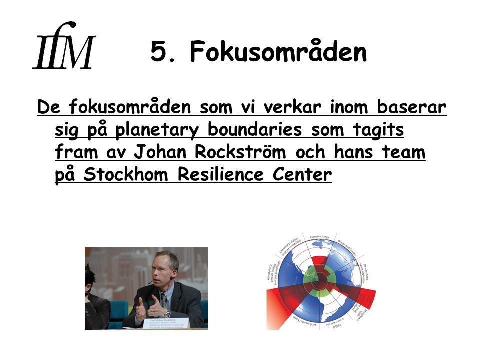 5. Fokusområden De fokusområden som vi verkar inom baserar sig på planetary boundaries som tagits fram av Johan Rockström och hans team på Stockhom Re