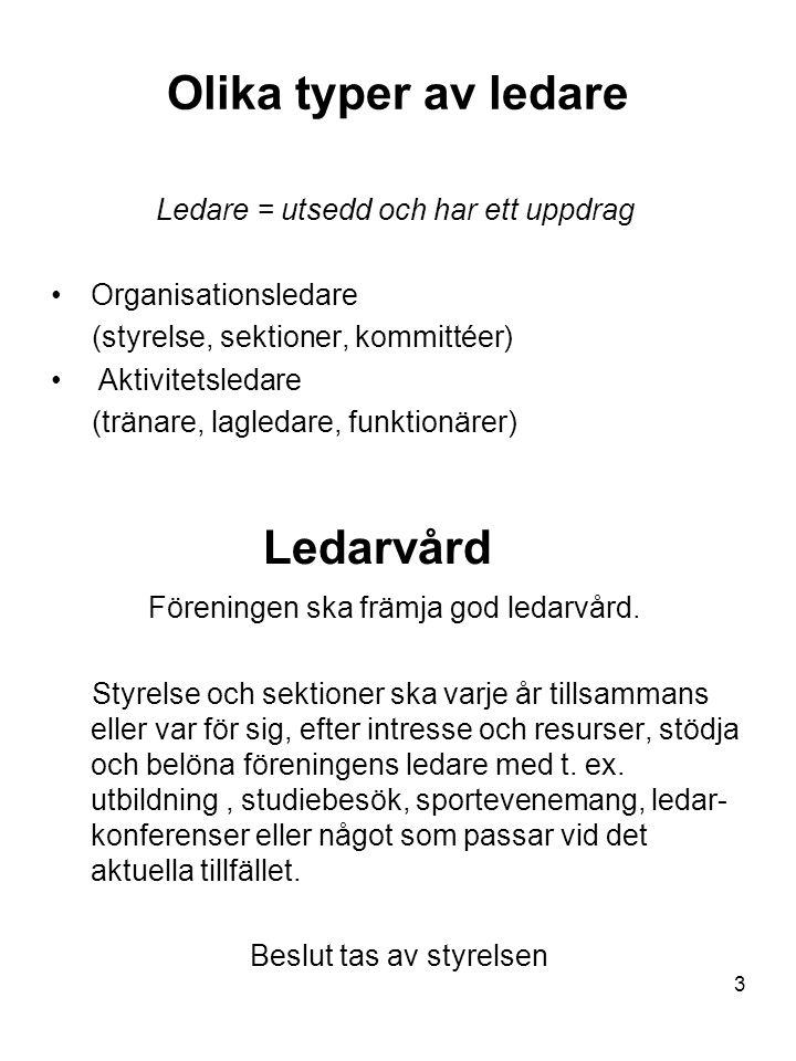 3 Olika typer av ledare Ledare = utsedd och har ett uppdrag Organisationsledare (styrelse, sektioner, kommittéer) Aktivitetsledare (tränare, lagledare, funktionärer) Ledarvård Föreningen ska främja god ledarvård.