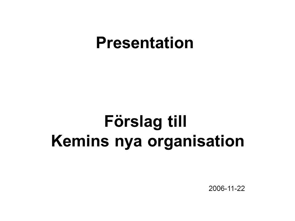 Presentation Förslag till Kemins nya organisation 2006-11-22