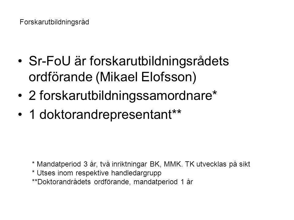 Sr-FoU är forskarutbildningsrådets ordförande (Mikael Elofsson) 2 forskarutbildningssamordnare* 1 doktorandrepresentant** Forskarutbildningsråd * Mandatperiod 3 år, två inriktningar BK, MMK.