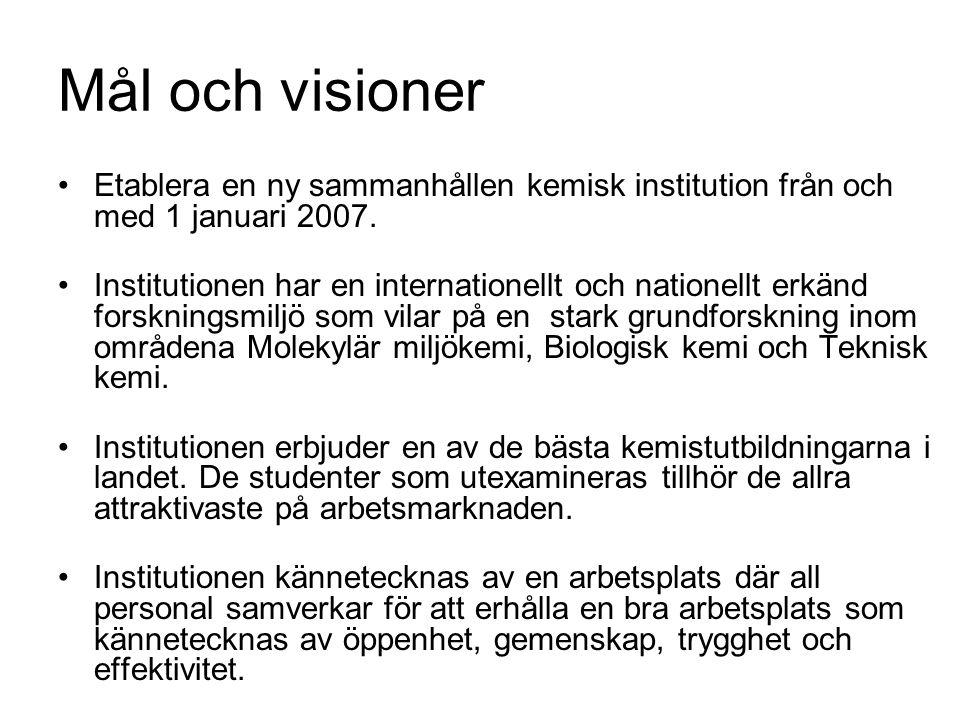 Mål och visioner Etablera en ny sammanhållen kemisk institution från och med 1 januari 2007. Institutionen har en internationellt och nationellt erkän