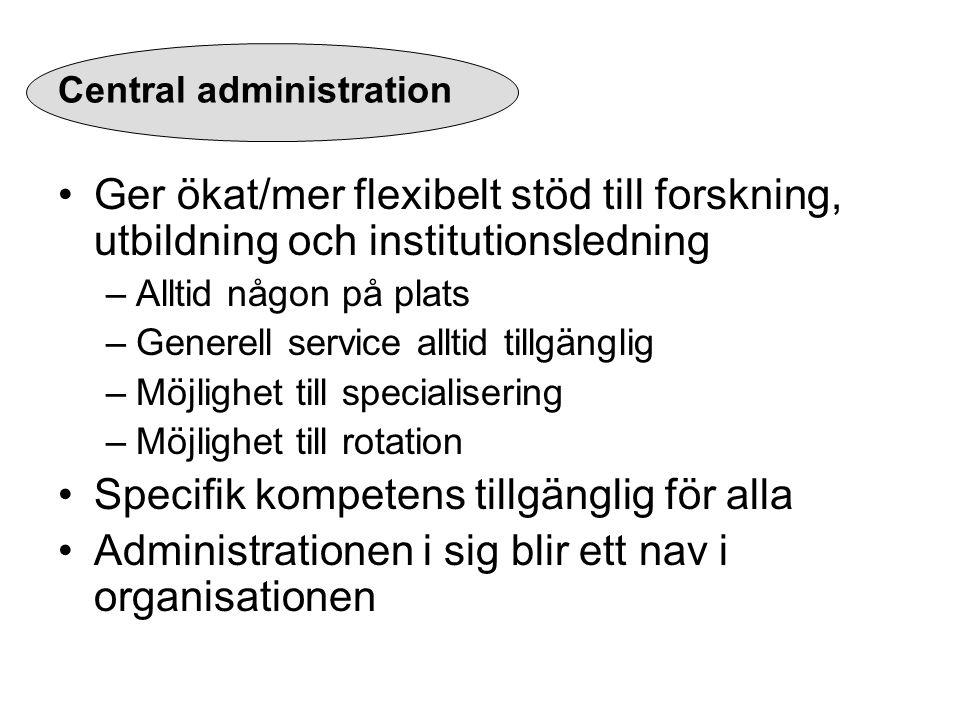 Central administration Ger ökat/mer flexibelt stöd till forskning, utbildning och institutionsledning –Alltid någon på plats –Generell service alltid