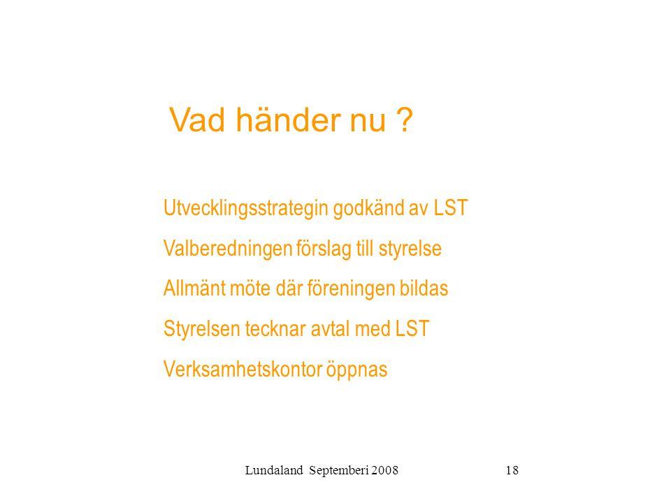 Lundaland Septemberi 200818 Utvecklingsstrategin godkänd av LST Valberedningen förslag till styrelse Allmänt möte där föreningen bildas Styrelsen teck