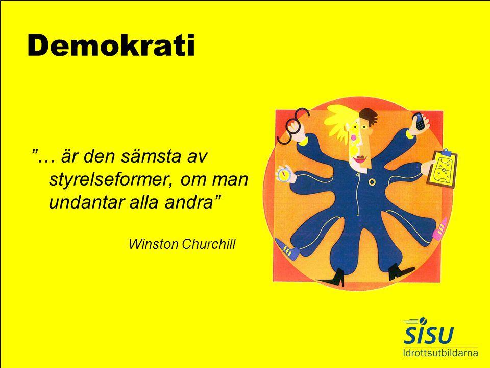 """Demokrati """"… är den sämsta av styrelseformer, om man undantar alla andra"""" Winston Churchill"""