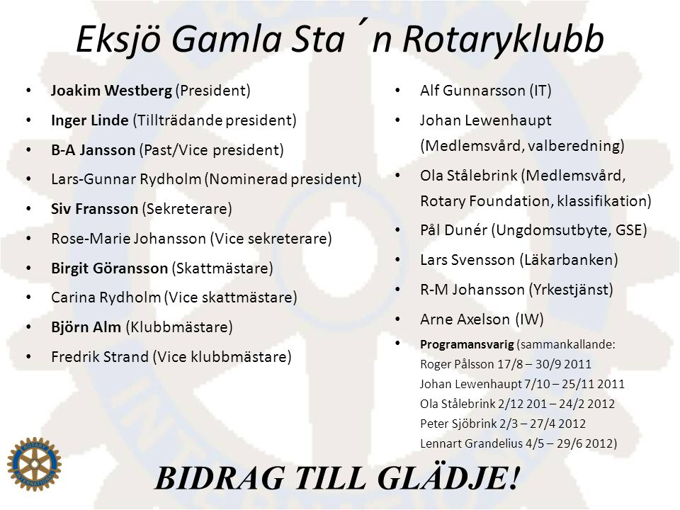 Joakim Westberg (President) Inger Linde (Tillträdande president) B-A Jansson (Past/Vice president) Lars-Gunnar Rydholm (Nominerad president) Siv Frans