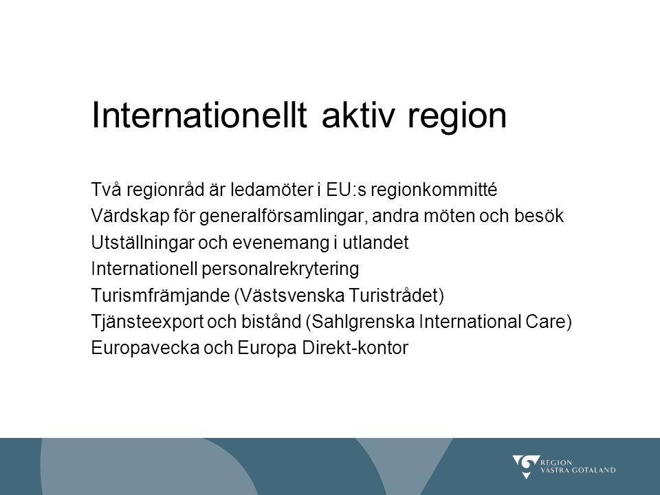Två regionråd är ledamöter i EU:s regionkommitté Värdskap för generalförsamlingar, andra möten och besök Utställningar och evenemang i utlandet Intern