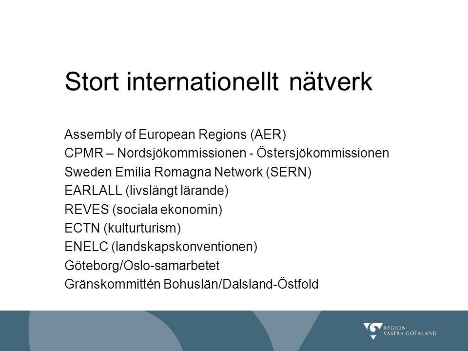 Assembly of European Regions (AER) CPMR – Nordsjökommissionen - Östersjökommissionen Sweden Emilia Romagna Network (SERN) EARLALL (livslångt lärande)