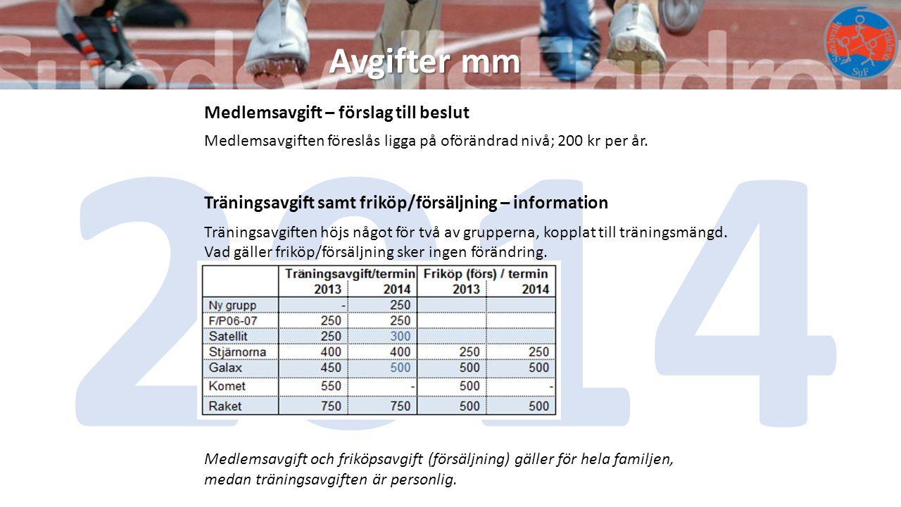 Avgifter mm 2014 Träningsavgift samt friköp/försäljning – information Träningsavgiften höjs något för två av grupperna, kopplat till träningsmängd.