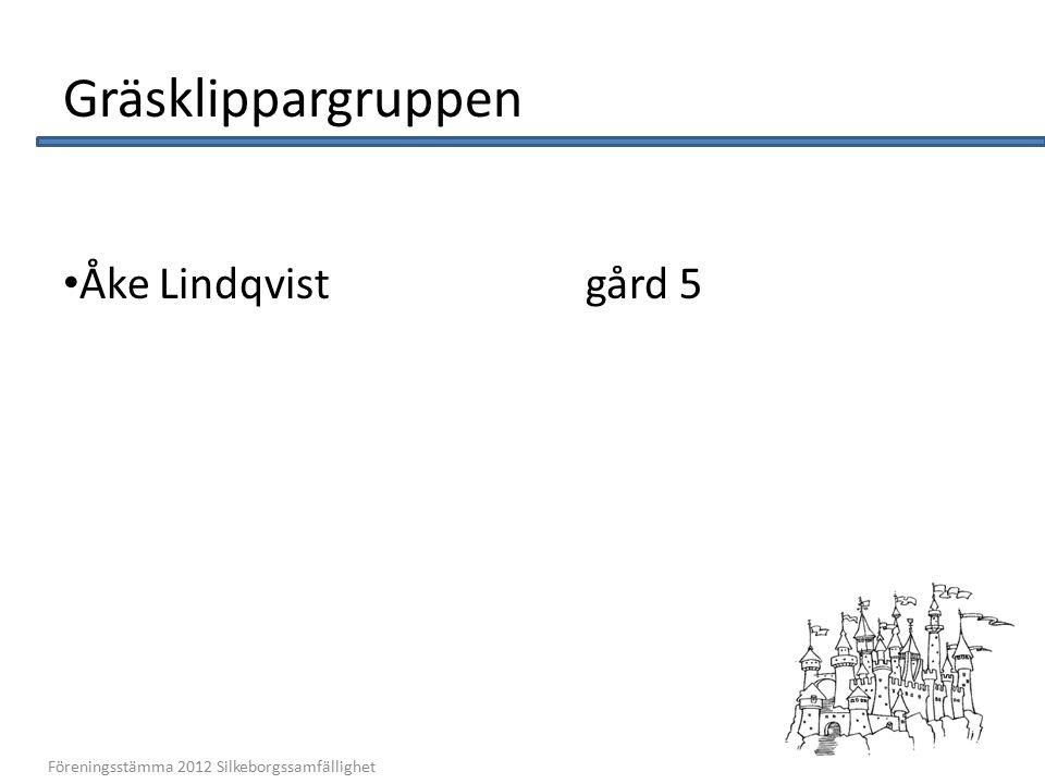 Gräsklippargruppen Åke Lindqvistgård 5 10 Föreningsstämma 2012 Silkeborgssamfällighet