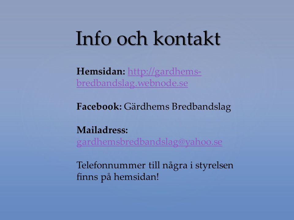 Info och kontakt Hemsidan: http://gardhems- bredbandslag.webnode.sehttp://gardhems- bredbandslag.webnode.se Facebook: Gärdhems Bredbandslag Mailadress